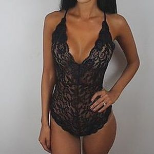 Sexy Sheer Black Lace Stretchy Bodysuit Romper